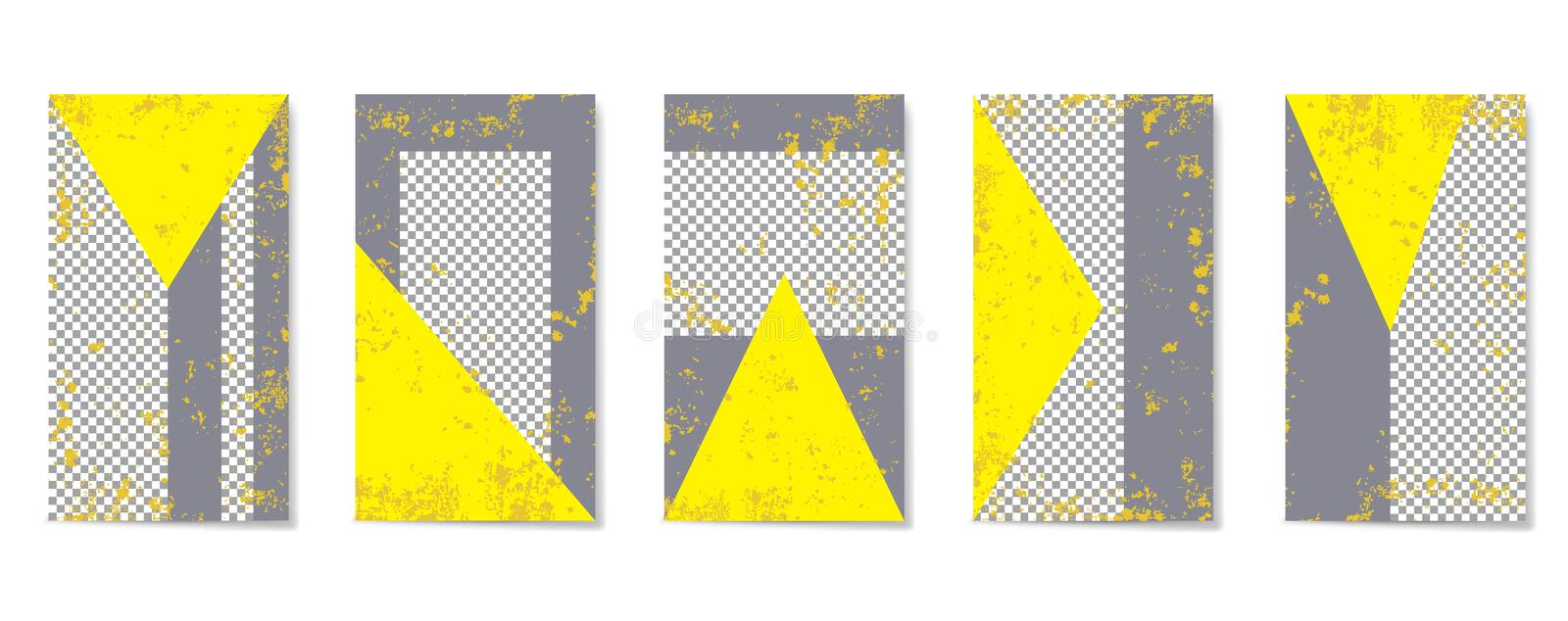 Flat geometric pattern in gray and yellow colors. royalty free stock image