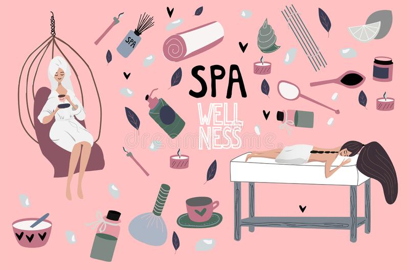 Flat girl relaxing after spa. Set of elements:  aromatherapy, honey therapy, body care, massage, meditation. royalty free illustration