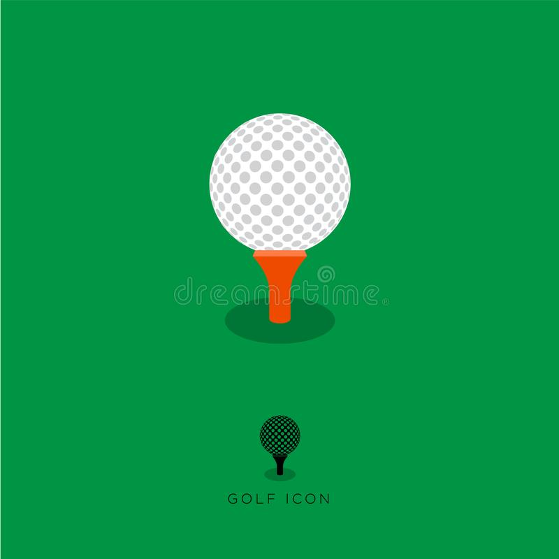 Flat Golf icon, golf characters. White golf ball and red tee on a green background. stock illustration