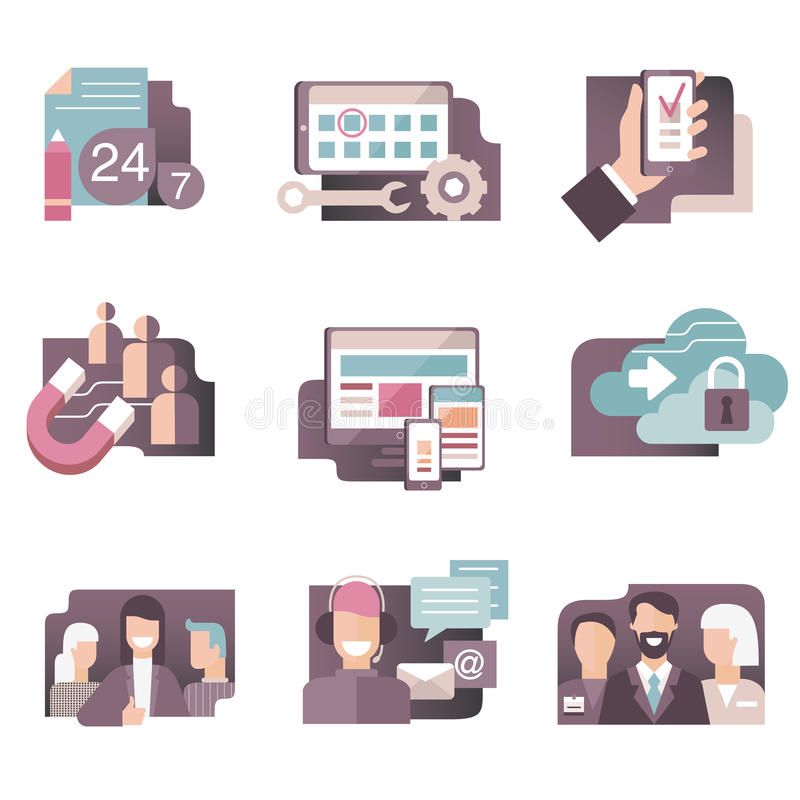 Flat gradient icons vector set in stylish colors of business people, web development, call center and seo concepts. Isolated on wh vector illustration