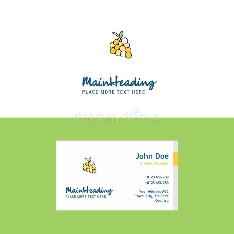 Flat Grapes Logo and Visiting Card Template. Busienss Concept Logo Design stock illustration