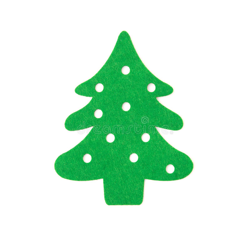 Flat green christmas tree on white background royalty free stock image