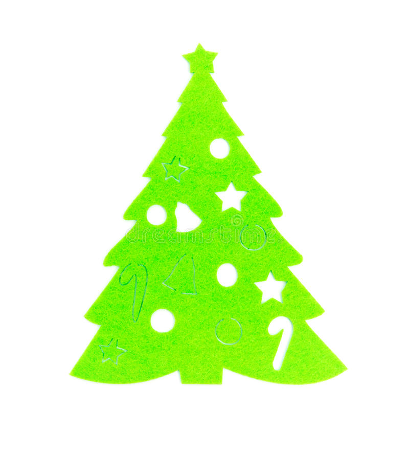 Flat green christmas tree on white royalty free stock photos