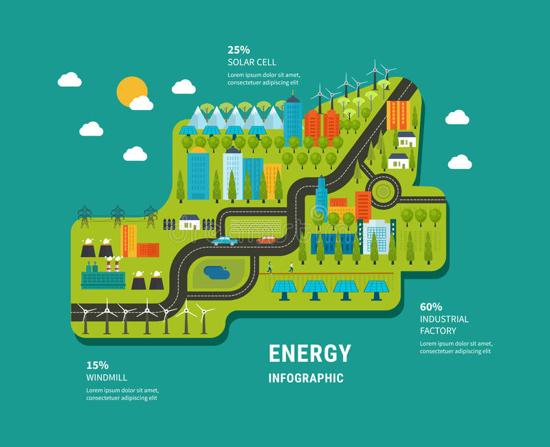 Flat green energy, ecology, eco, clean planet stock illustration