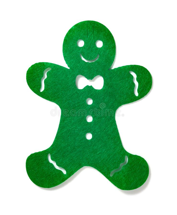 Flat green gingerbread man on white background stock images