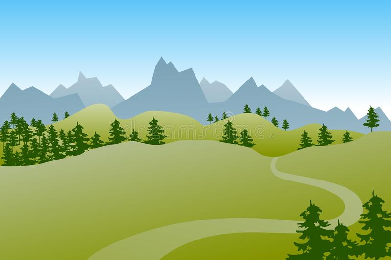 Flat green summer landscape with hills, trees and a path. Flat green summer landscape with hills, trees and a path vector illustration