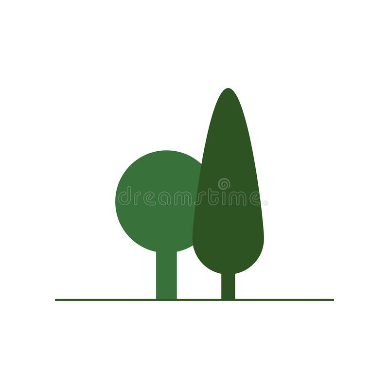 Flat Green Tree icon, vector illustration isolated on white background vector illustration