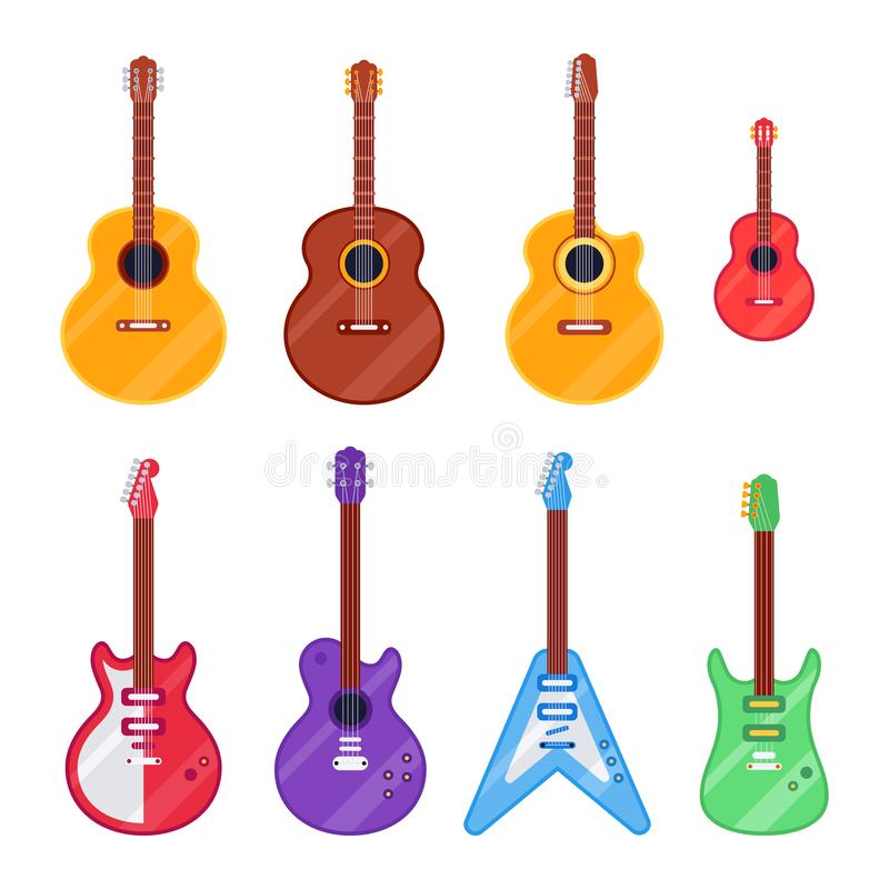 Flat guitar instrument. Ukulele, acoustic classical and rock electric guitars. String music instruments isolated vector royalty free illustration