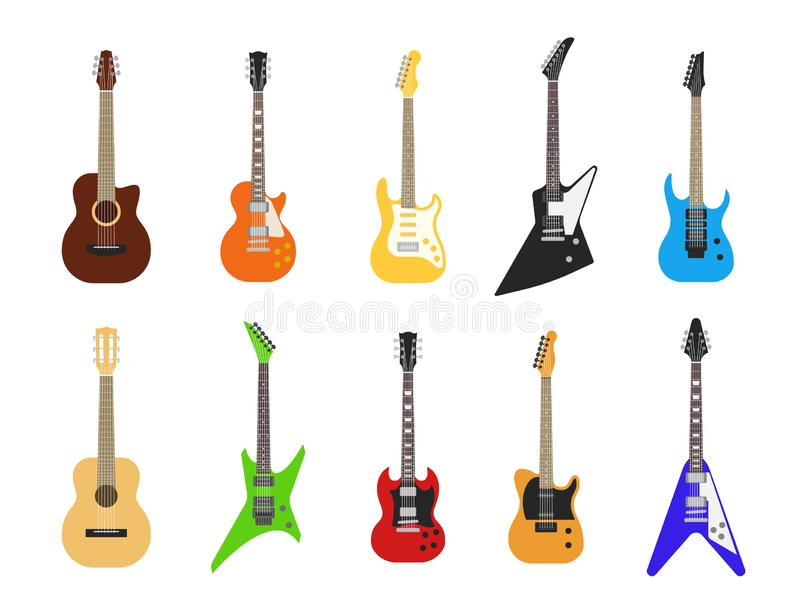 Flat guitars. Acoustic and electric guitar musical instruments. Vector isolated set royalty free illustration