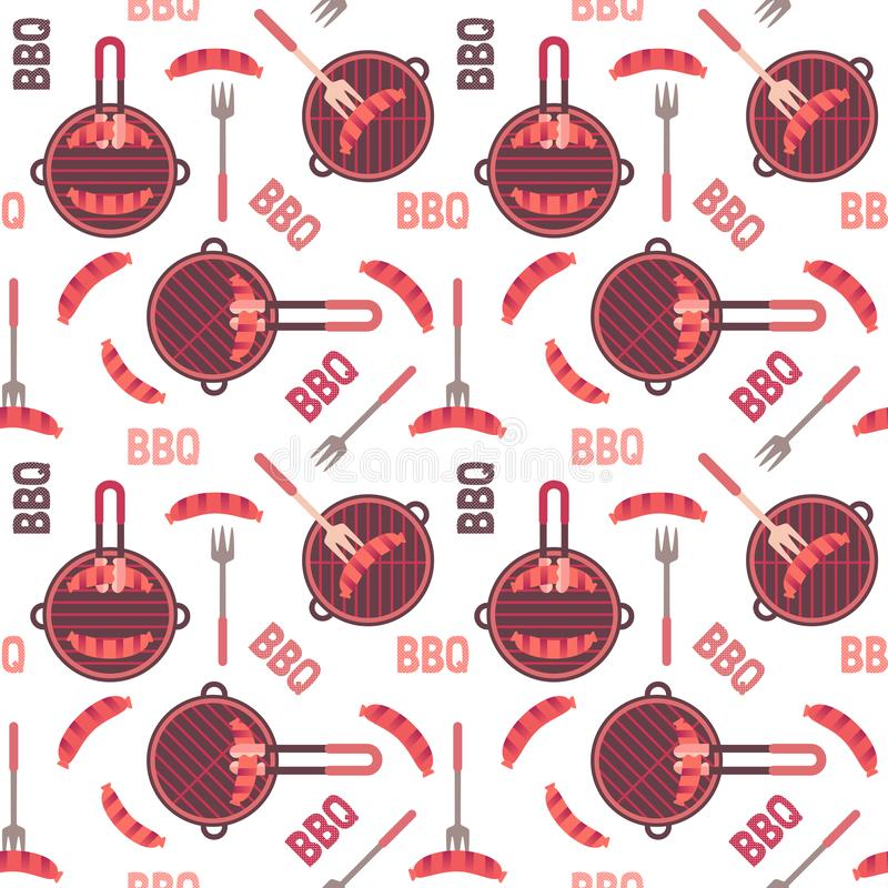 Flat hand drawn barbecue icons seamless pattern. Isolated on white. Vector barbecue grill cartoon collection. Round shape barbeque grid emblem. Grilling sausage vector illustration