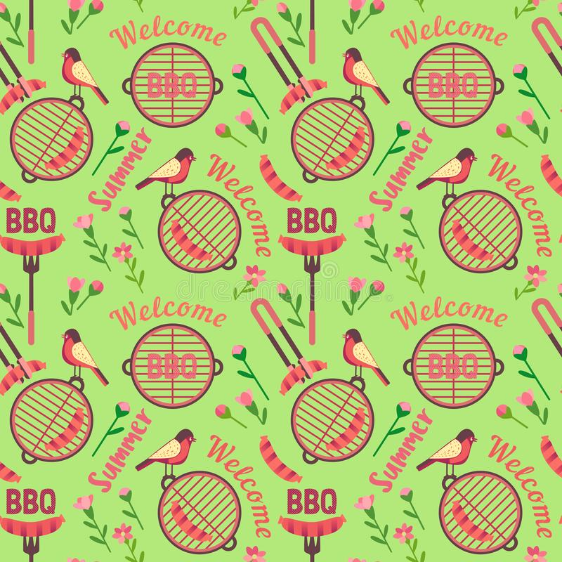 Flat hand drawn barbecue icons seamless pattern. Flat hand drawn barbecue icon seamless pattern. Vector barbecue grill cartoon collection. Welcome summer stock illustration