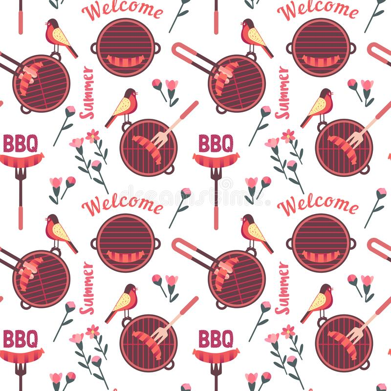 Flat hand drawn barbecue icons seamless pattern. Isolated on white. Vector barbecue grill cartoon collection. Welcome summer barbeque party pattern. Grilling vector illustration