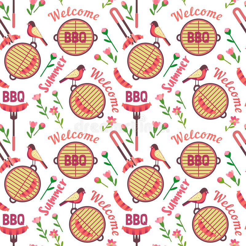 Flat hand drawn barbecue icons seamless pattern. Isolated on white. Vector barbecue grill cartoon collection. Welcome summer barbeque party pattern. Grilling stock illustration
