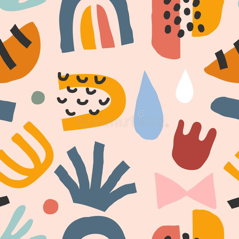 Flat hand drawn contemporary abstract doodles made as seamless repeat pattern. Abstraction colorful background. Trendy paper cut s. Tyle shapes. Moon, foliage stock illustration