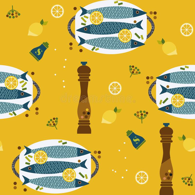 Flat hand drawn fish cooking icons seamless pattern vector illustration