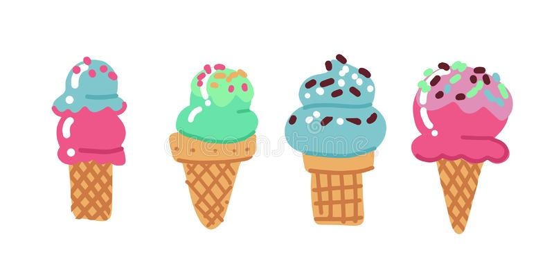 Flat hand drawn set of ice cream in waffle cones and cups. Dessert food. Set of various types simple ice cream with toppings royalty free illustration