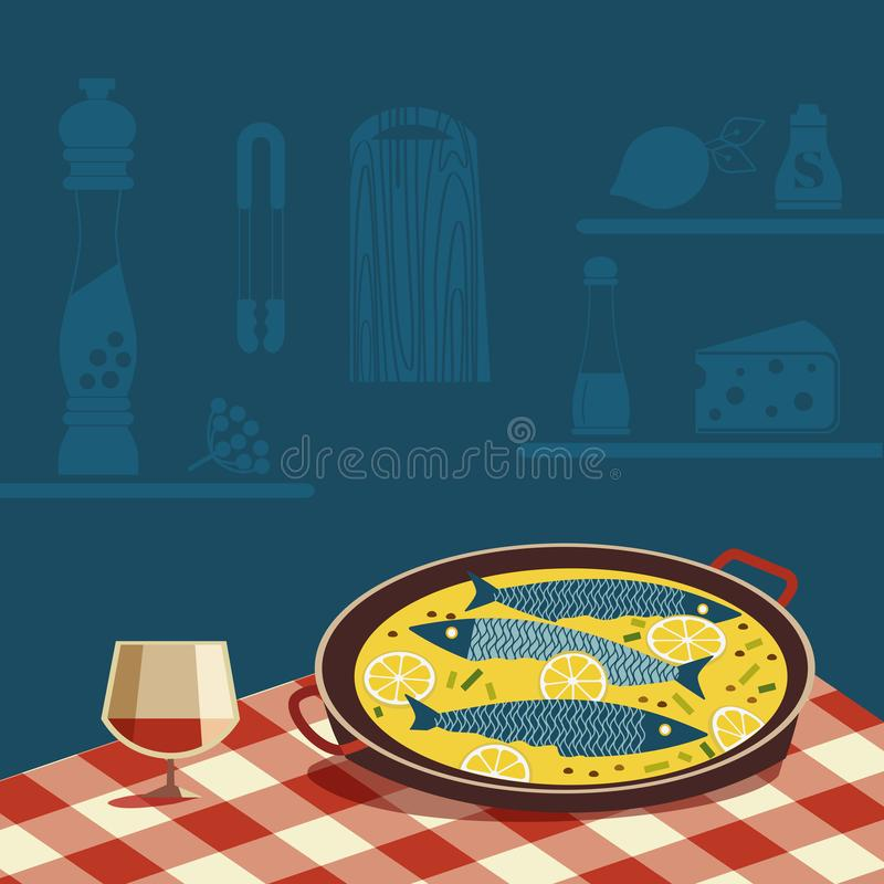 Flat hand drawn vector color seafood icon. Fish food in pan, wine glass on tablecloth. Fry sea food in cheese retro style scandinavian cartoon illustration vector illustration