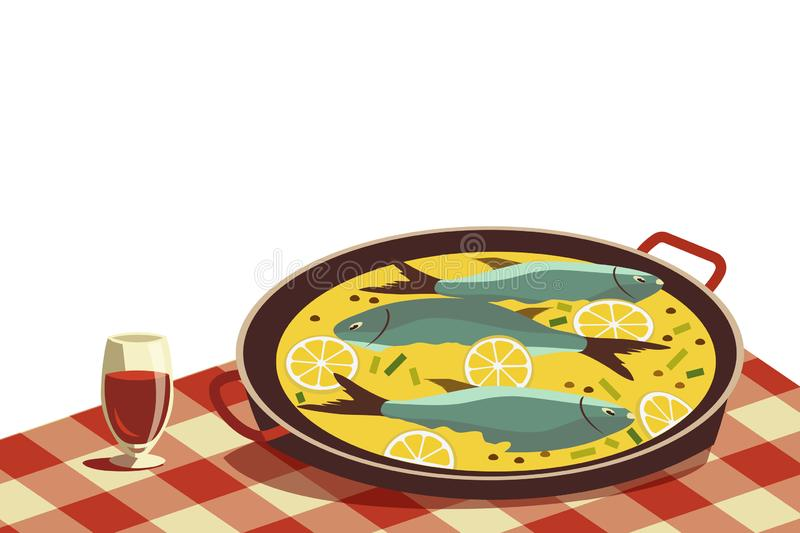 Flat hand drawn vector color seafood icon. Fish food in pan, wine glass on tablecloth. Fry sea food retro style isolated Scandinavian cartoon illustration vector illustration