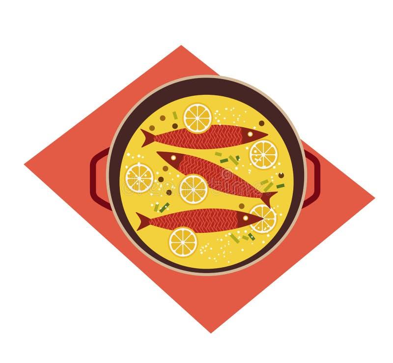 Flat hand drawn vector color seafood icon. Fresh baked fish food on pan design element. Fry sea food retro style isolated Scandinavian cartoon illustration stock illustration