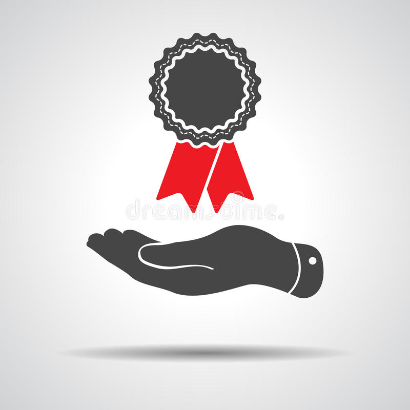 Flat hand giving badge with red ribbons icon stock illustration