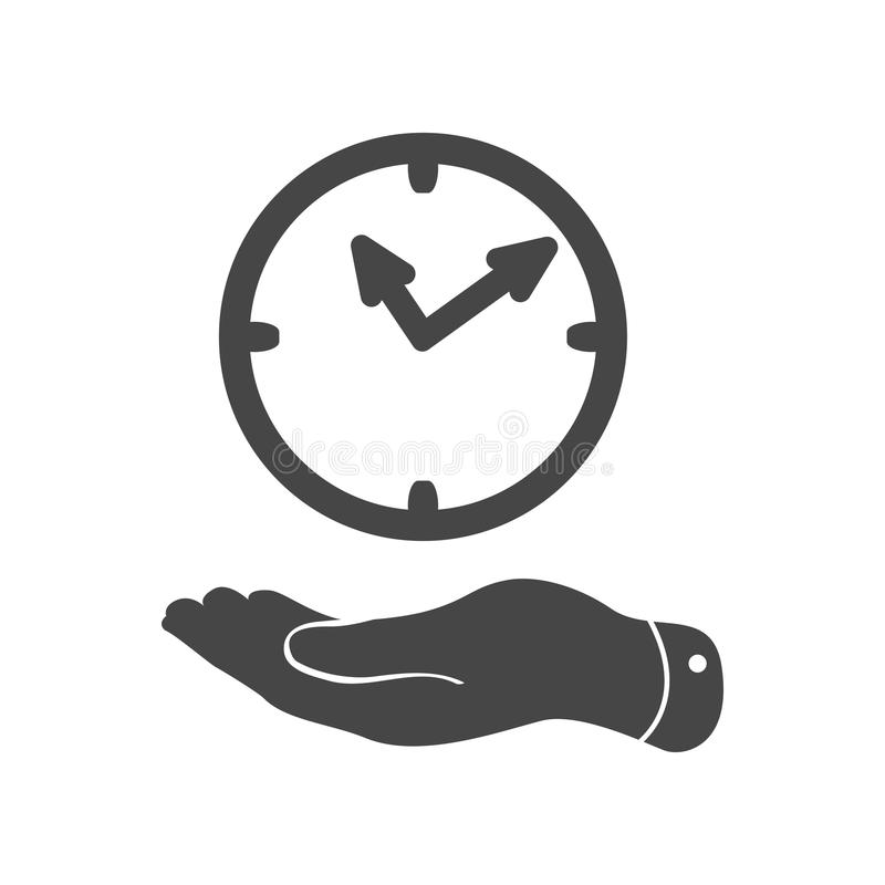 Flat hand giving the clock icon royalty free illustration