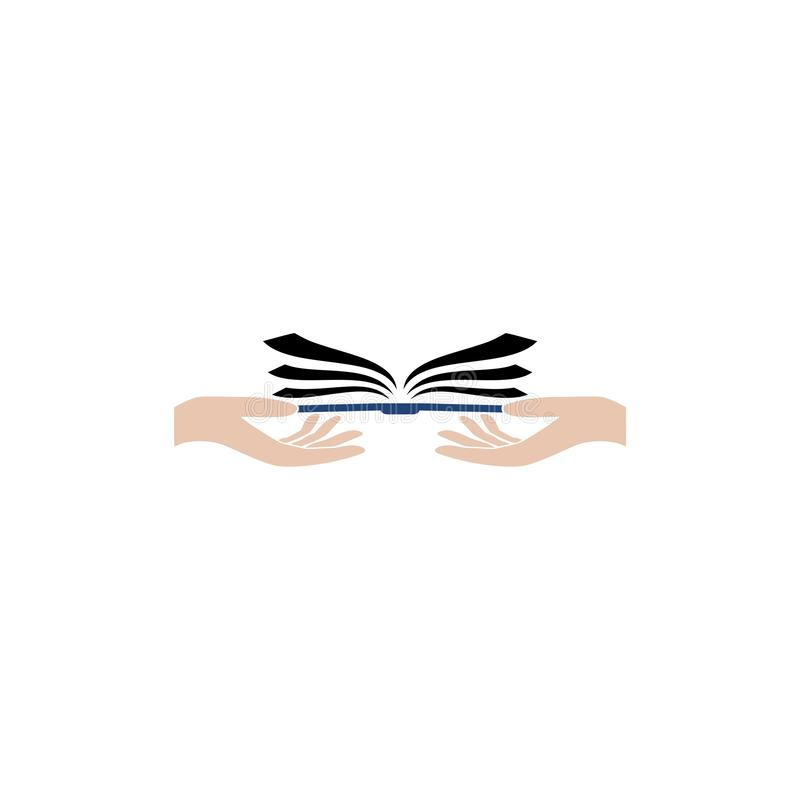 Flat hand giving open book icon logo stock illustration