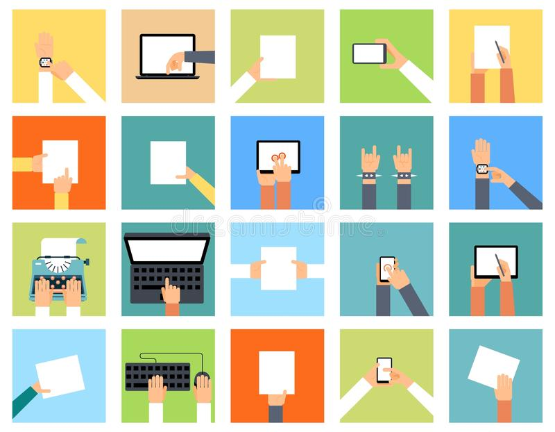 Flat hand icons holding various devices and hands stock illustration