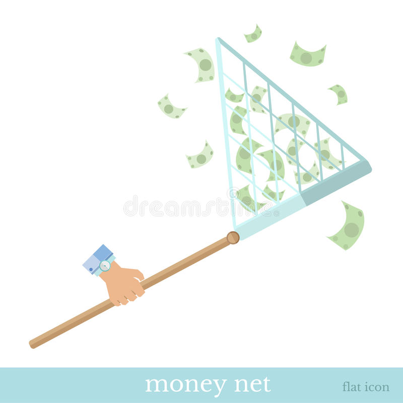 Flat hand with net catch maoney concept business icon. On white royalty free illustration