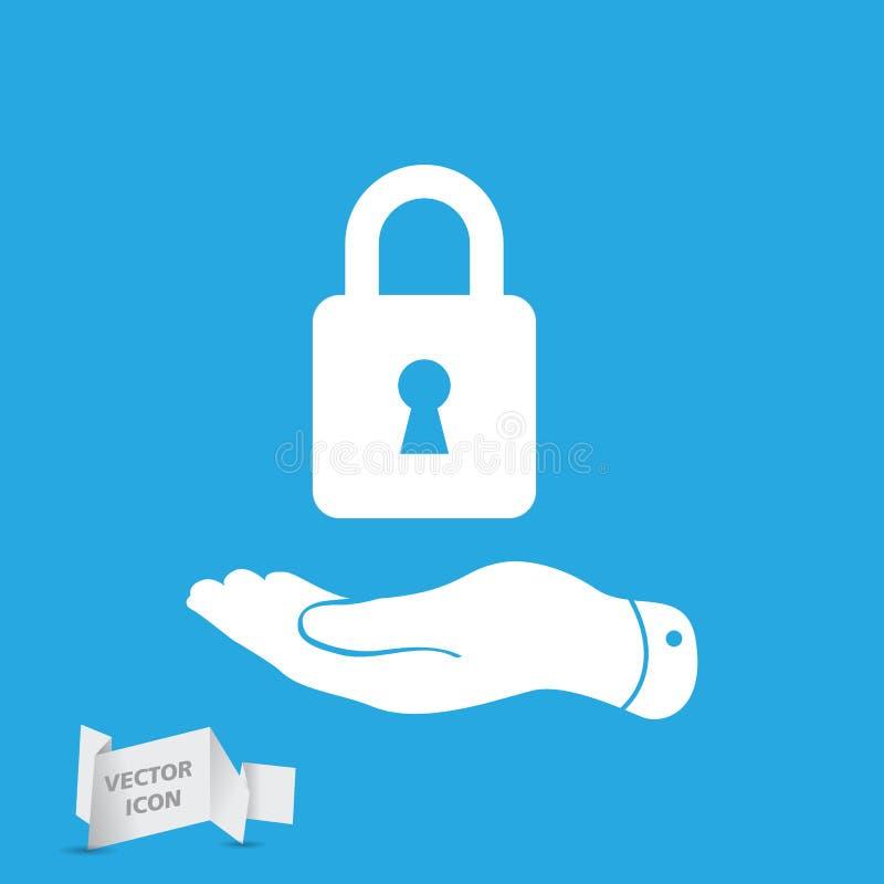 flat hand presenting lock icon royalty free illustration