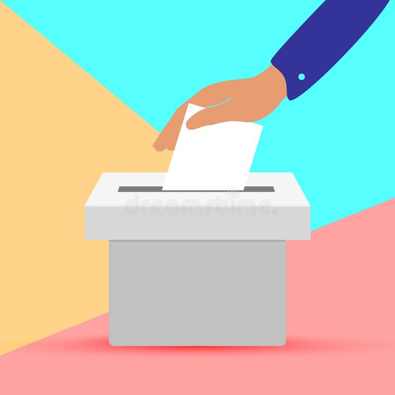 Free Flat Hand Putting Vote Bulletin Into Ballot Box Icon. Election Concept On Pink Blue Colored Pastel Background Stock Image - 164647311