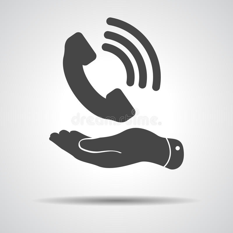 Flat hand showing black phone receiver icon vector illustration