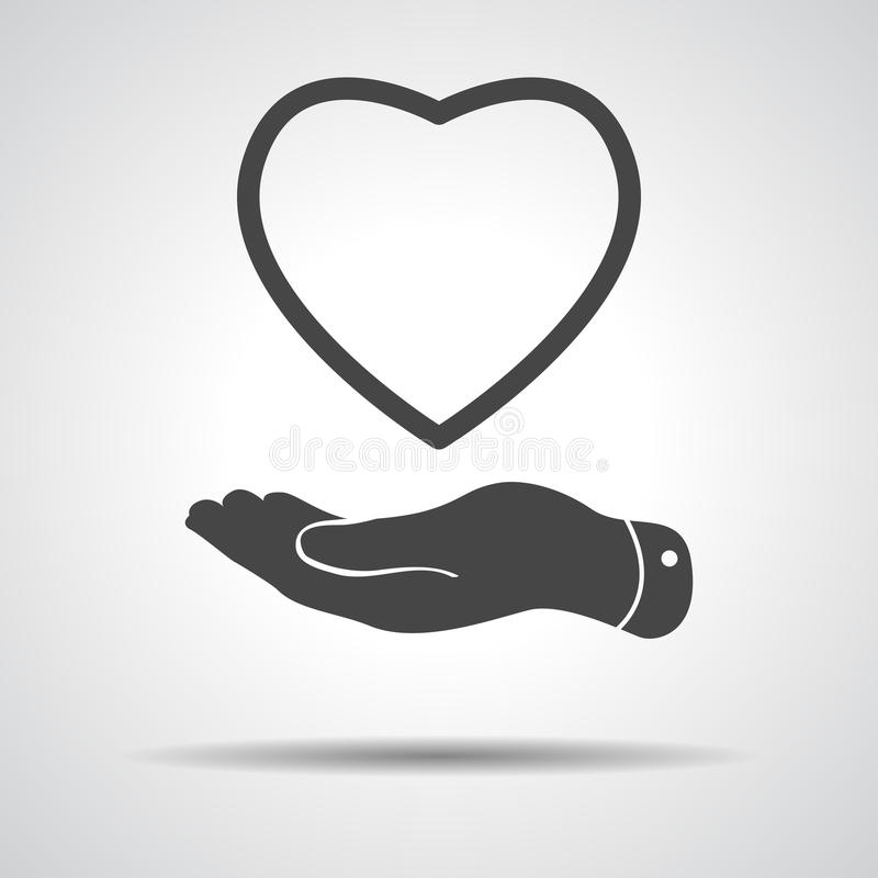Flat hand showing heart icon vector illustration