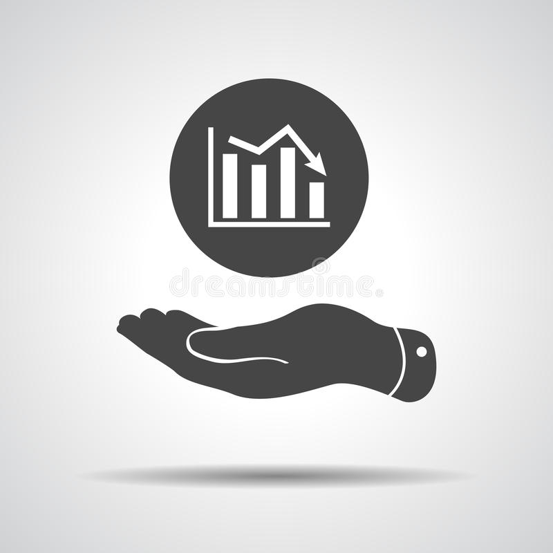 Flat hand showing the icon of graph going down royalty free illustration