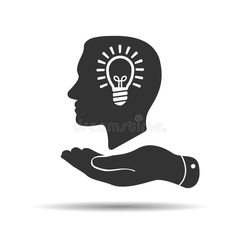 flat hand showing man profile head view with light lamp bulb ins stock illustration