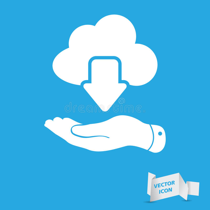 Flat hand showing white cloud computing download icon on a blue. Background royalty free illustration