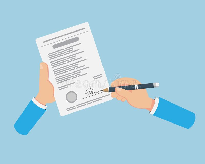 Flat Hand Signing on Contract Paper. NWhen business is ready We have to sign royalty free illustration