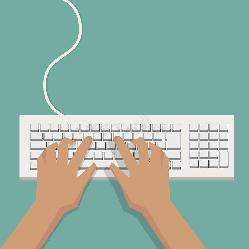 Flat Hands typing on white keyboard with cable stock illustration