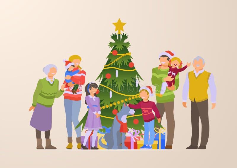 Flat happy family grandparents Christmas tree gift royalty free illustration