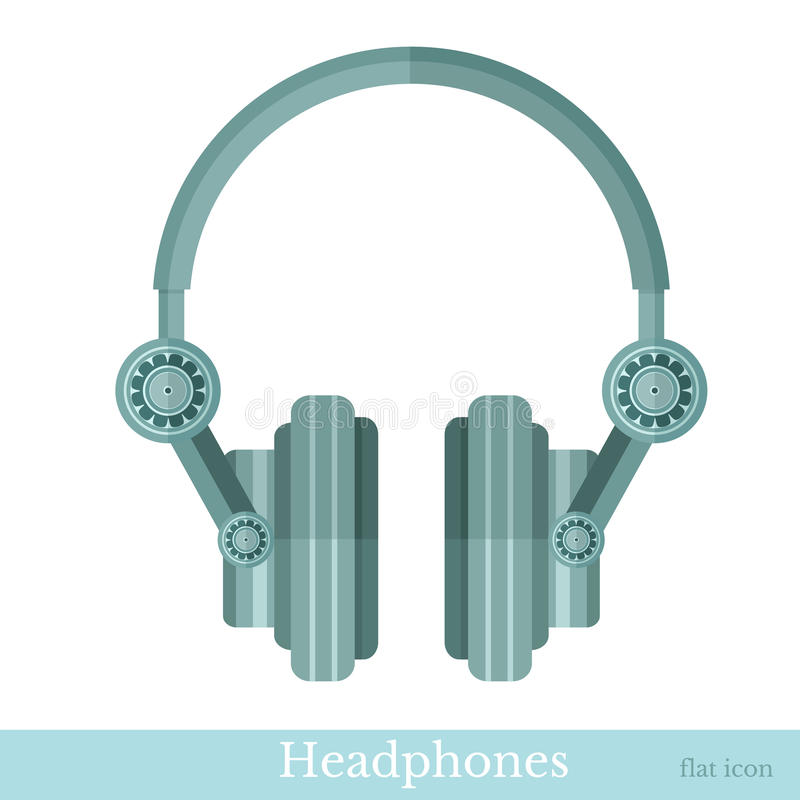 Flat headphones icon stock illustration