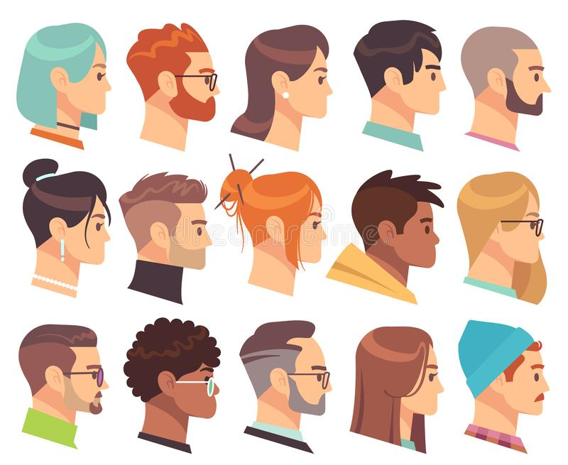 Flat heads in profile. Different human heads, male and female with various hairstyles and accessories. Colorful web vector illustration