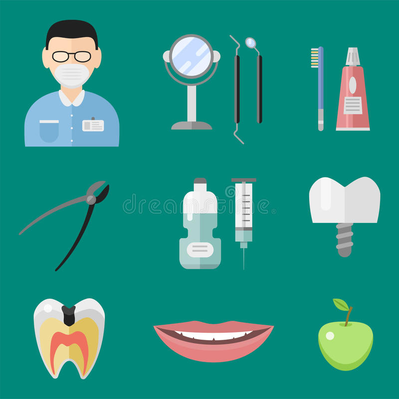 Flat health care dentist medical tools medicine instrument hygiene stomatology vector illustration. Flat health care dentist symbols research medical tools royalty free illustration