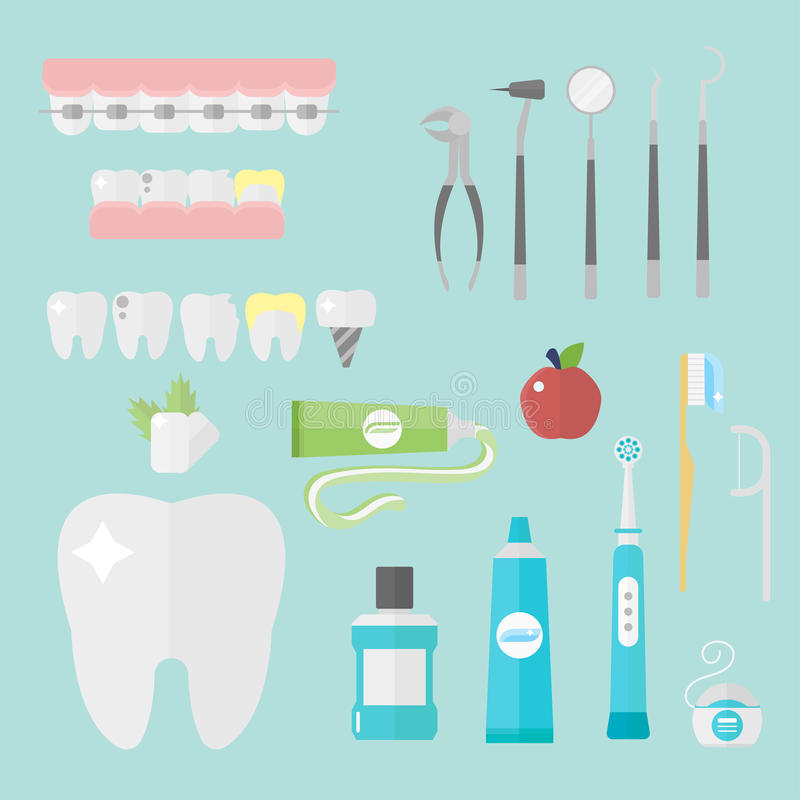 Flat health care dentist symbols research medical tools healthcare system concept and medicine instrument hygiene royalty free illustration