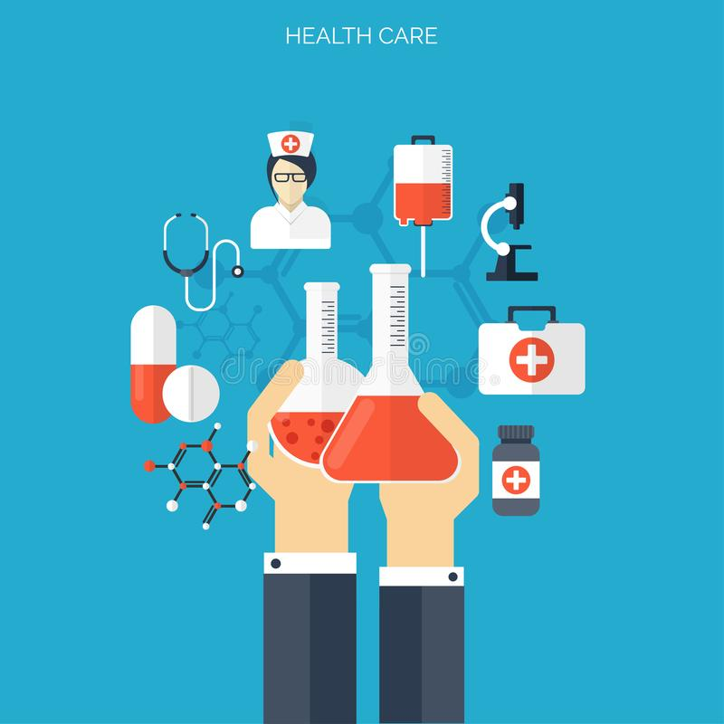 Flat health care and medical research background. Healthcare system concept. Medicine and chemical engineering. stock illustration
