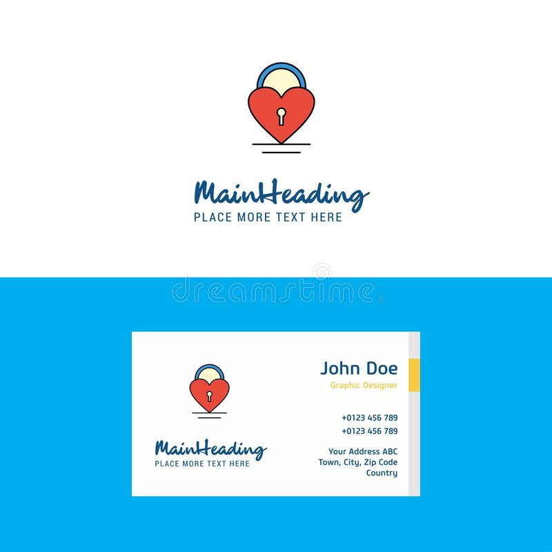 Flat Heart lock Logo and Visiting Card Template. Busienss Concept Logo Design stock illustration