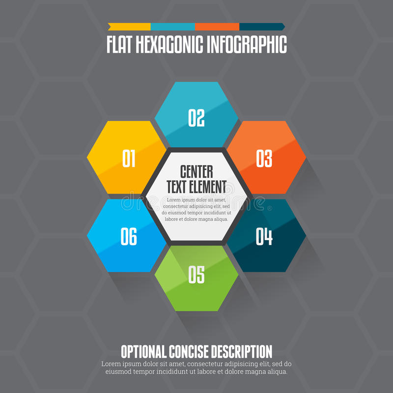 Flat Hexagon Infographic. Vector illustration of flat hexagon infographic design element vector illustration