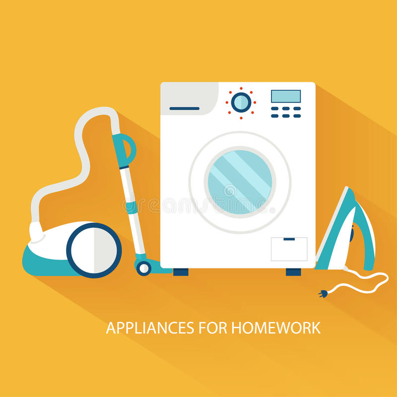 Flat household appliances background concept. vector illustration
