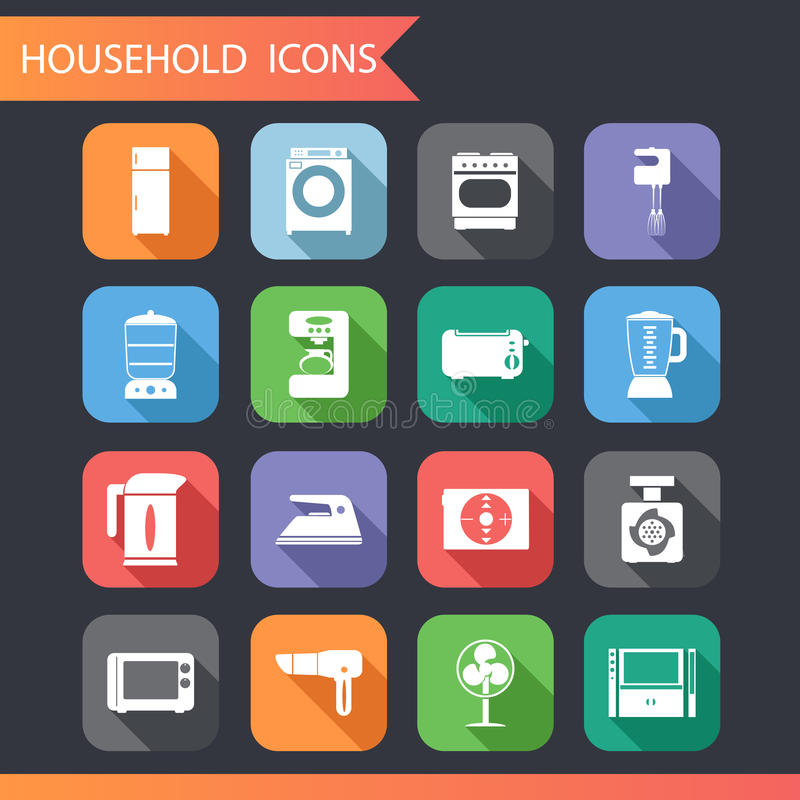 Flat Household Icons and Symbols Set. Vector Illustration vector illustration