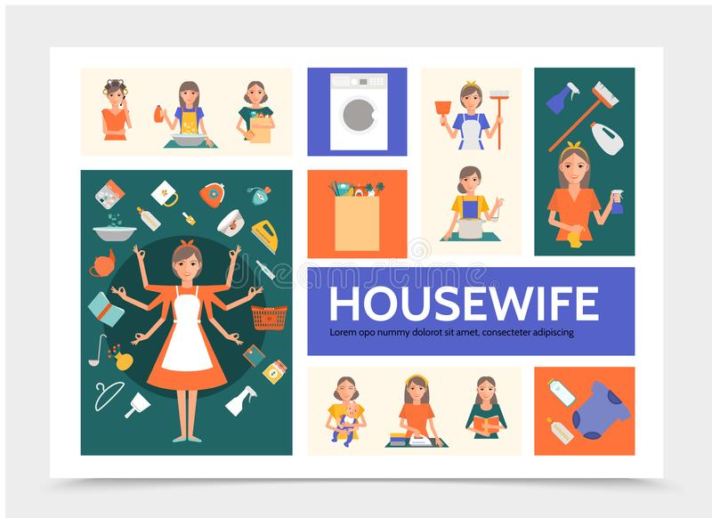 Flat Housewife Infographic Template. With cleaning washing ironing shopping cooking activities mother with baby and different household tools vector vector illustration