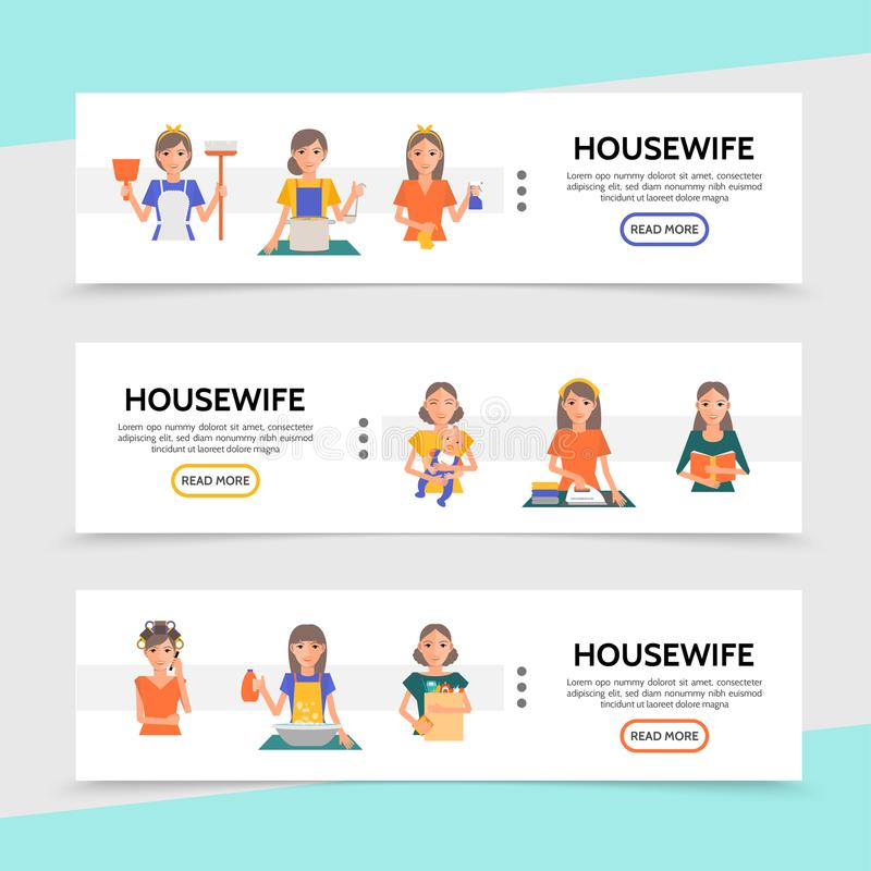 Flat Housewife Life Horizontal Banners. With cooking shopping ironing cleaning washing affairs make up procedures and mother cares of baby vector illustration stock illustration