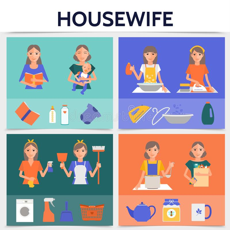 Flat Housewife Life Square Concept. With cleaning shopping washing cooking ironing works mother with baby household tools and kitchenware vector illustration vector illustration